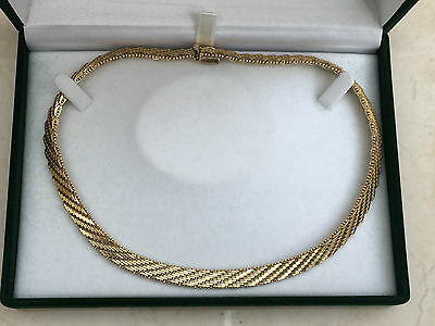 "Beautiful Vintage 15.5"" Yellow Gold Plated Wide Chain Necklace"