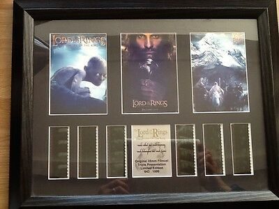 Lord of the Rings Original 35mm Filmcel triple presentation limited edition.
