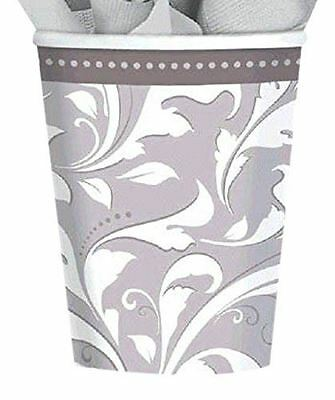 Silver Anniversary 266 ml Paper Cups, Pack of 8 Party Celebration Themed