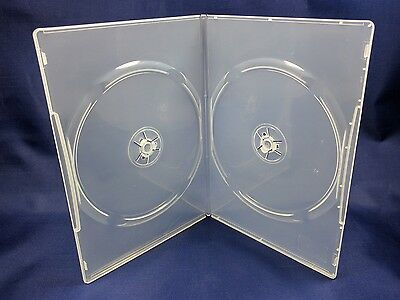(4 pc.) Slim Clear Double DVD CD Cases 7mm spine