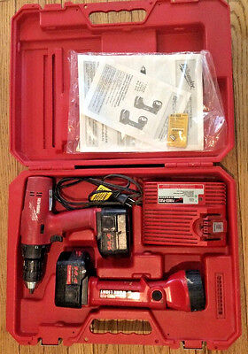 Milwaukee 0512-26 14.4v Driver/Drill, Work Light, Charger, 2 Batteries and Case