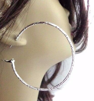 2.25 inch HOOP EARRINGS RHODIUM PLATED SILVER TONE FROSTED SILVER FINISH HOOPS
