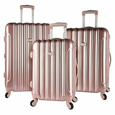 ROSE GOLD Kensie Luggage 3 PC Expandable Hard Side Double Spinner Luggage Set