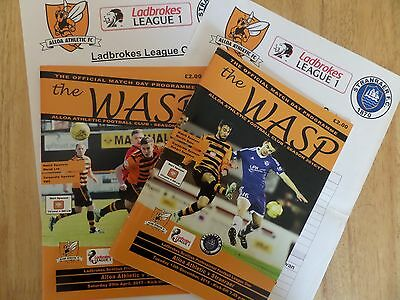 2016/17 Alloa Athletic v Stranraer x BOTH programmes, inc Teamsheets,MINT