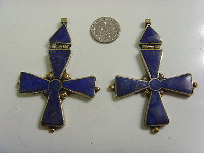 2 Lapis Lazuli Hinged Rustic Blue Iron Cross Pendant Catholic Christian Hf1413