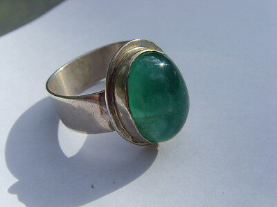 14 Carat Natural Green Emerald Cabochon 16X12 Mm Ring Siz 12 Panjshir Hf1405