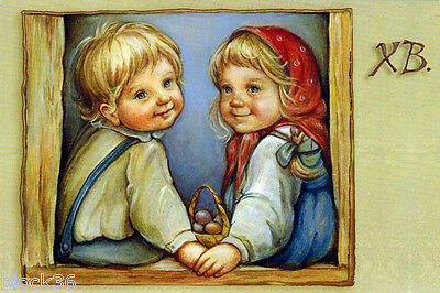 Modern Russian EASTER card LITTLE FRIENDS Children have colored eggs in basket