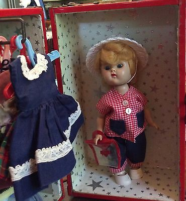 VINTAGE 1950's VOGUE GINNY DOLL Blonde SLW w Trunk and Home Made outfits