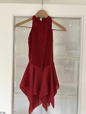 Beautiful Red Ice Figure Dancer Skating Dress Age 9-12 Or Petite