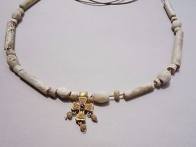 ancient Roman ~Byzantine necklace bone beads~gold cross with garnet stone