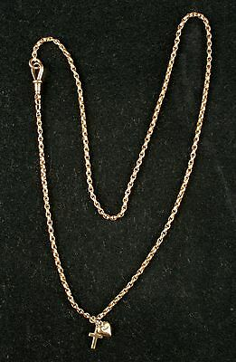 Antique 9ct Rose Gold 67cms Guard Chain With Hallmarked Lobster Clasp & Charms
