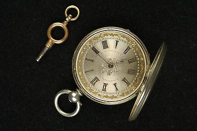 Antique Silver Pocket Watch With Silver & Gilt Face Marked S & Co. With Key