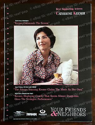 YOUR FRIENDS & NEIGHBORS Oscar Ad 1998 BEST SUPPORTING ACTRESS Catherine Keener