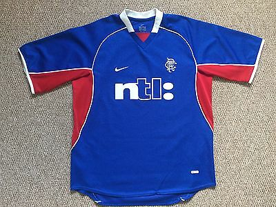 GLASGOW RANGERS FC 2001/2002 HOME FOOTBALL SHIRT JERSEY NIKE Vintage Size Medium