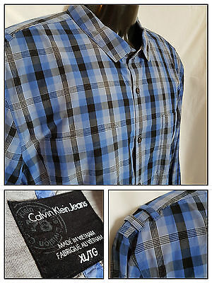 CALVIN KLEIN JEANS Men's Blue Plaid Button Shirt Size XL dress long sleeve