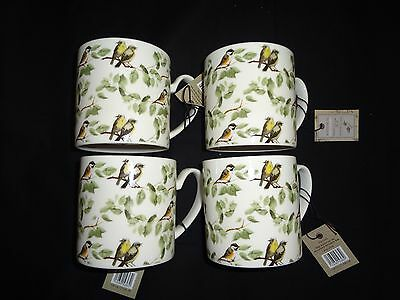 Set of 4 Fine China Botanical Discovery Bird Design Tea/Coffee Mugs