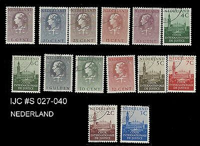 Netherlands stamps 1951 Service Stamps D27-D40 these are CTO cancelled to order