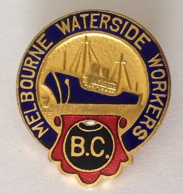 Melbourne Waterside Workers Bowling Club Badge Pin Vintage Lawn Bowls (L15)