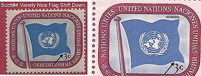 """UN Scott #4 Flag Shift Down Almost Touches The """"3"""" """"Variety"""" Mint Never Hinged"""