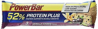 PowerBar-Vanilla Cassis Flavour(52% Protein Plus)-Pack of 3 x 24 Dated 05/2017.