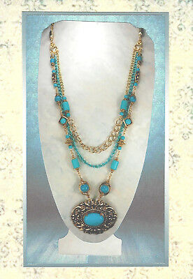 Multi Turquoise Gemstone & Gold Chain Victorian Revival Pendant Necklace 5150
