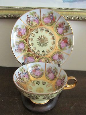 Antique JKW Carlsbad Bavaria Germany Tea Cup And Saucer Portrait Scene Gold