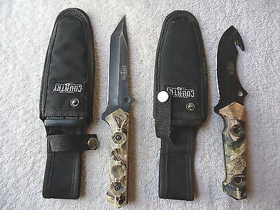 "Set Of 2 Mossy Oak Break Up Country Hunting Knives,1,Regular,1,Skinning "" GREAT"