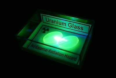 Geiger Counter Test Check Source - Uranium Glass Sample in Display Case