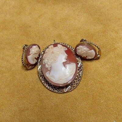 3 PC Van Dell Shell Carved Cameo Brooch Pin Pendant Earrings 12K Gold Filled