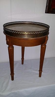 Vintage Marble & Wood Marble Top Plant/accent Table  With Brass Edge