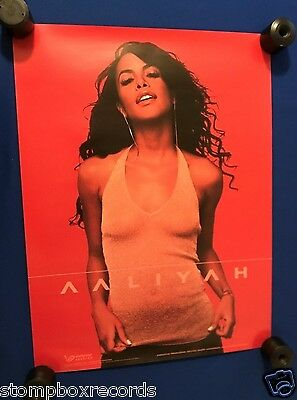 vintage ORIGINAL 2001 Aaliyah Blackground Records 2 SIDED PROMO POSTER 18x24in