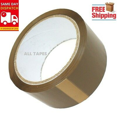 """288 Rolls Brown Buff Tape Box Packaging Parcel Packing Sellotape 2""""50Mm X 66M"""