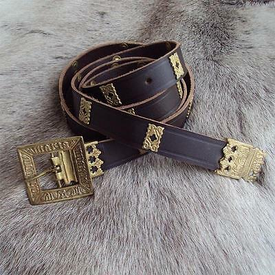 Leather Viking Belt With Quatrefoils. Perfect for Re-enactment, Stage, Costume
