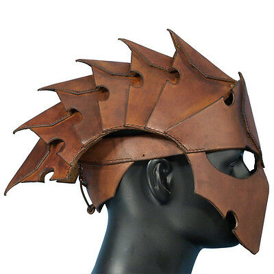 Quality Leather Assassins Helmet - Perfect For Stage Costume Or LARP 2 Colours
