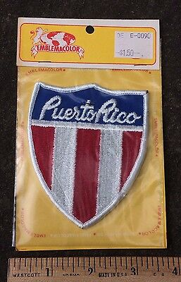 NIP Vintage PUERTO RICO Red White Blue Shield Souvenir Embroidered Patch