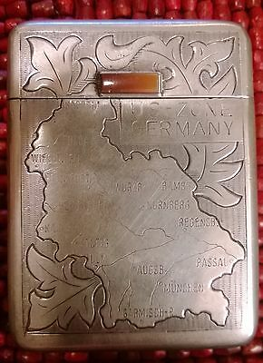 1940s-50s SOLID Silver 835 cigarette case,COLD WAR motif W GERMANY US territory