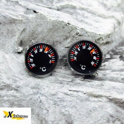 2X MINI POCKET BUTTON TEMPERATURE GAUGES hiking bushcraft survival kit EDC