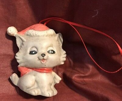 Santa Cat Ceramic Grey Christmas Tree Ornament