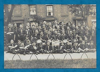 C1920's Rp Pc Large Group Of Scouts Some With Drums Nottingham Connection?