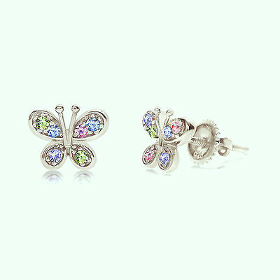 Girls Sterling Silver & White Gold Plated Butterfly Screwback Earrings Crystal