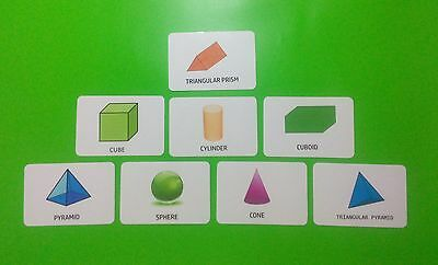 Shapes 3D Flash Cards / Educational Cards / Early Learning