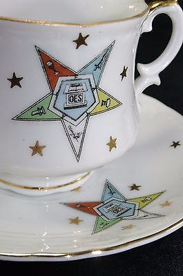 Vintage OES Order of Eastern Star Lefton China Tea Cup Saucer Hand Painted KF108