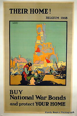 "Original Vintage WWI Poster Great Britain Linen Backed ""Their Home"" F.G. Brown"