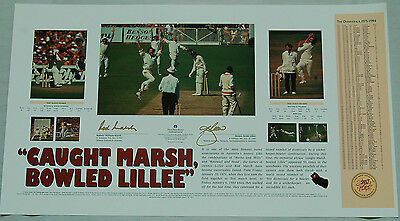 Rod Marsh Dennis Lillee Caught Marsh Bowled Lillee Hand Signed Cricket Print