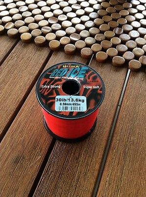 Ultima Red Ice 30lb 13.6kg Bulk Spool 495m Extra Strong Mono