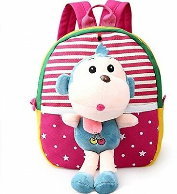 MATMO 3D Cute Cartoon Little Plush Baby Backpack Baby Toy Bag Rose Red Monkey