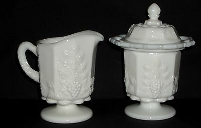 Westmoreland PANELED GRAPE WHITE *CREAMER & LACY SUGAR w/LID*PG 135/45*