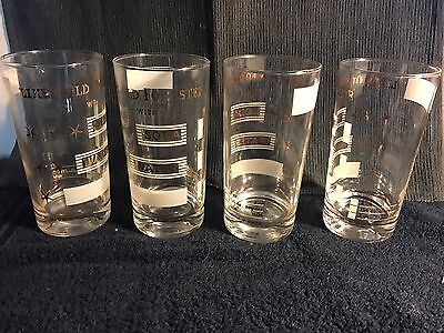 Vintage Set of 4 Likes Old Forester W/ Soda Water Whiskey Glasses Kentucky