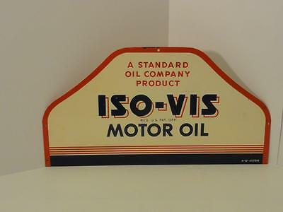 Vintage ISO-VIS Standard Motor Oil Sign ISO VIS Can Gas Petroliana