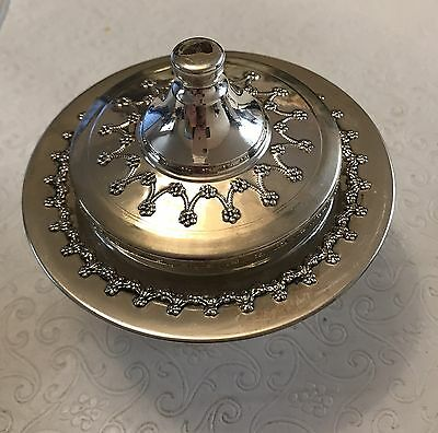 Sterling Silver Footed Honey/Condiment Dish w Cover & Glass Insert  Pristine Con